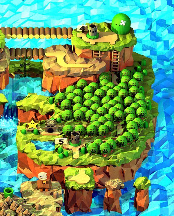 Polygonal Super Mario World By Steph Caskenette Via Behance Super Mario Jogos Mario