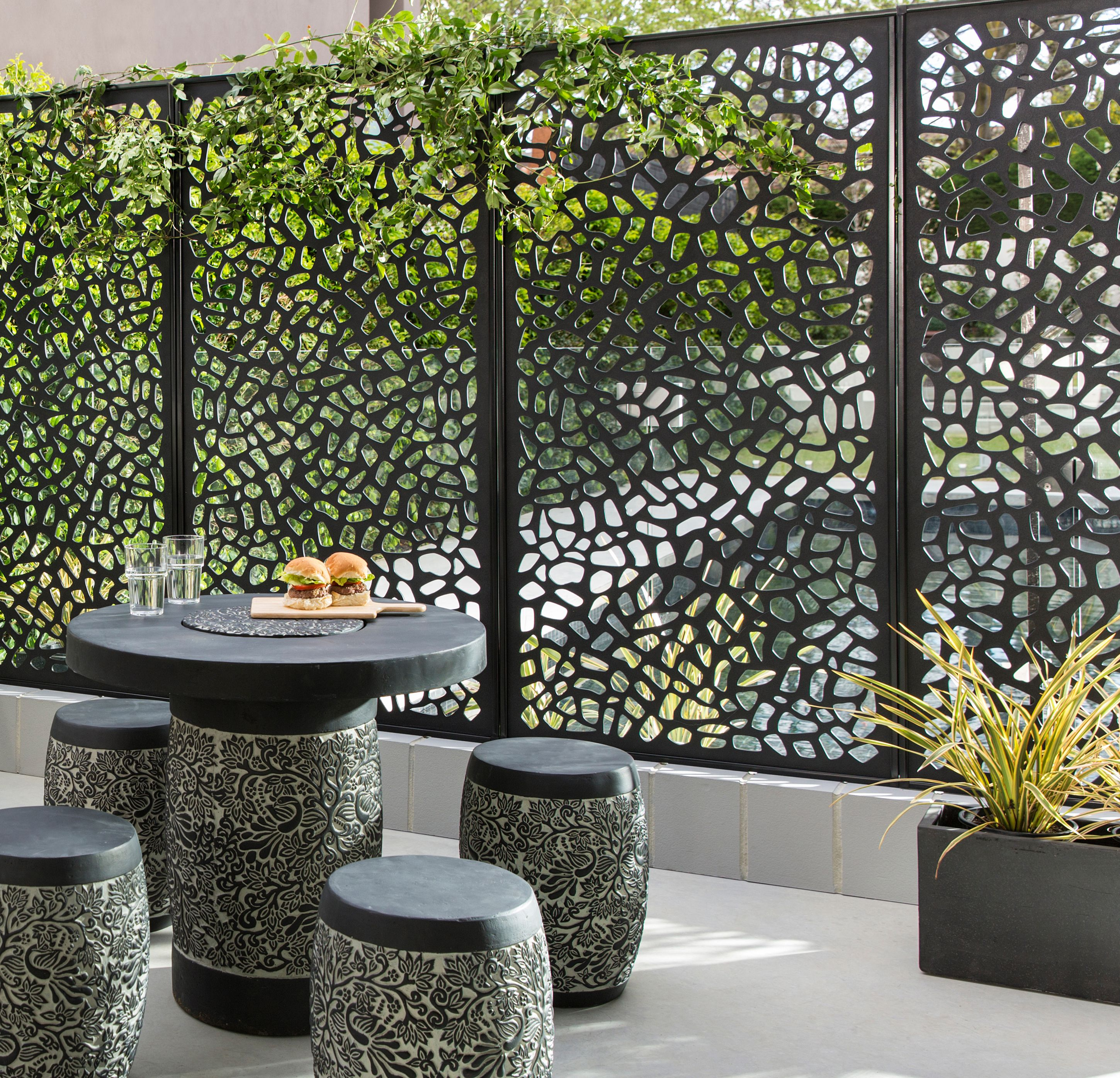 Small Spaces Can Be Full Of Light With Matrix Screens Create Intimate Areas That Hide Not As Wond Privacy Screen Outdoor Patio Privacy Screen Outdoor Screens