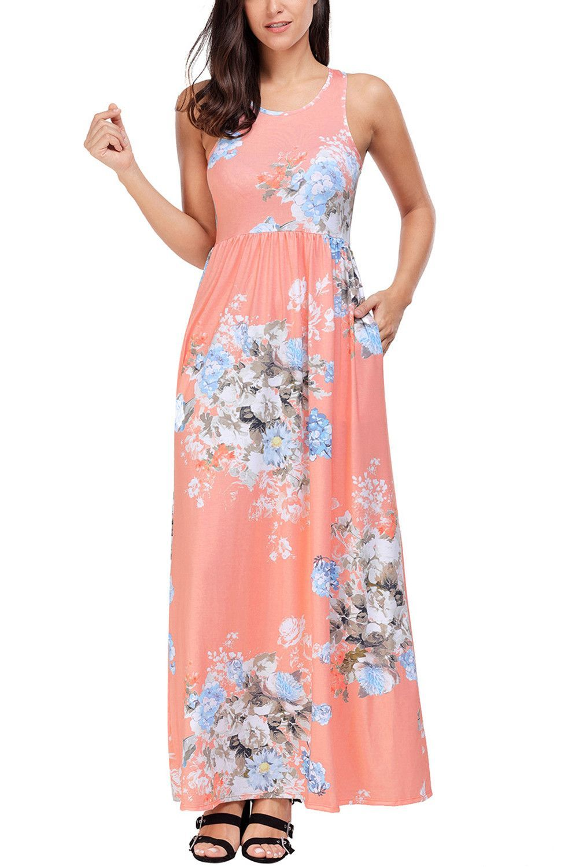 Elegant blush sleeveless long boho floral print dress products