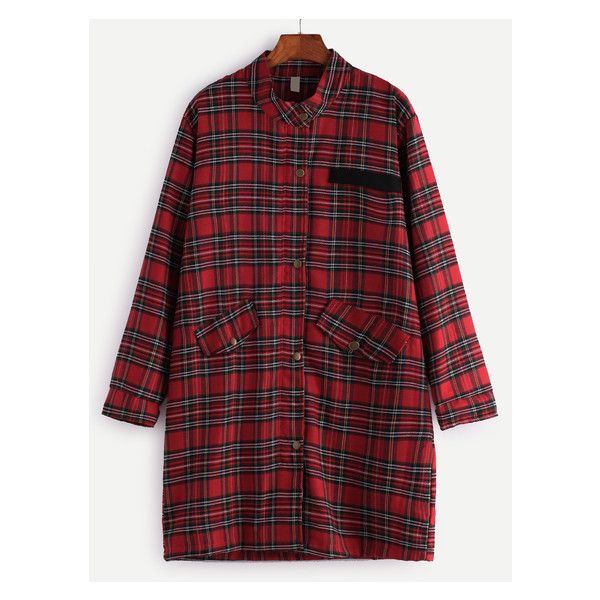 Red Check Plaid Buttons Coat (1.520 RUB) ❤ liked on Polyvore featuring outerwear, coats and red coat