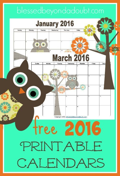 Free  Monthly Printable Calendars  Owl Themed  Printable