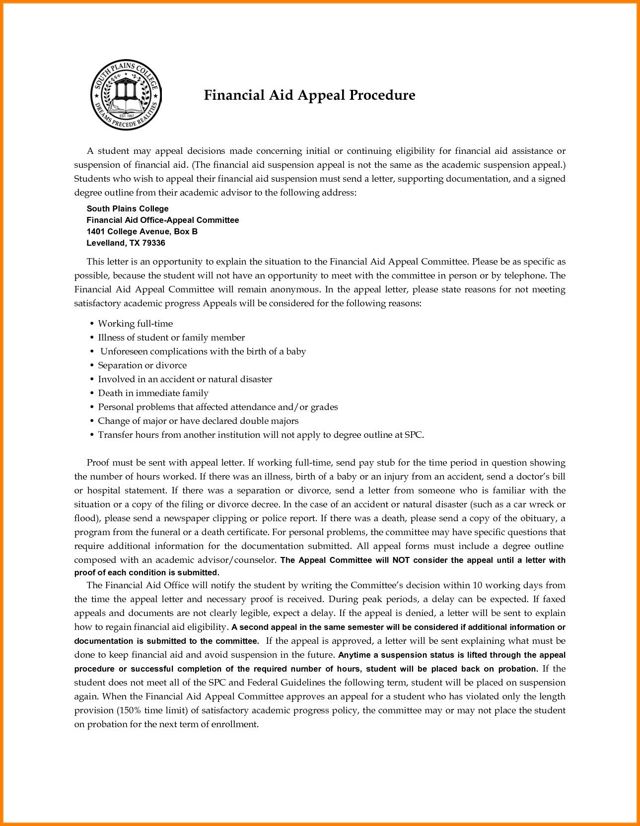 Financial Aid Appeal Letter Template Best Of Financial Aid Appeal Letter Financial Aid Letter Example Lettering