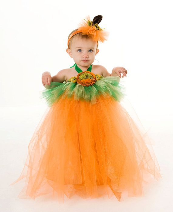 Tutu Dress - Pumpkin Halloween Costume - Orange  Green - Gorgeous - green dress halloween costume ideas