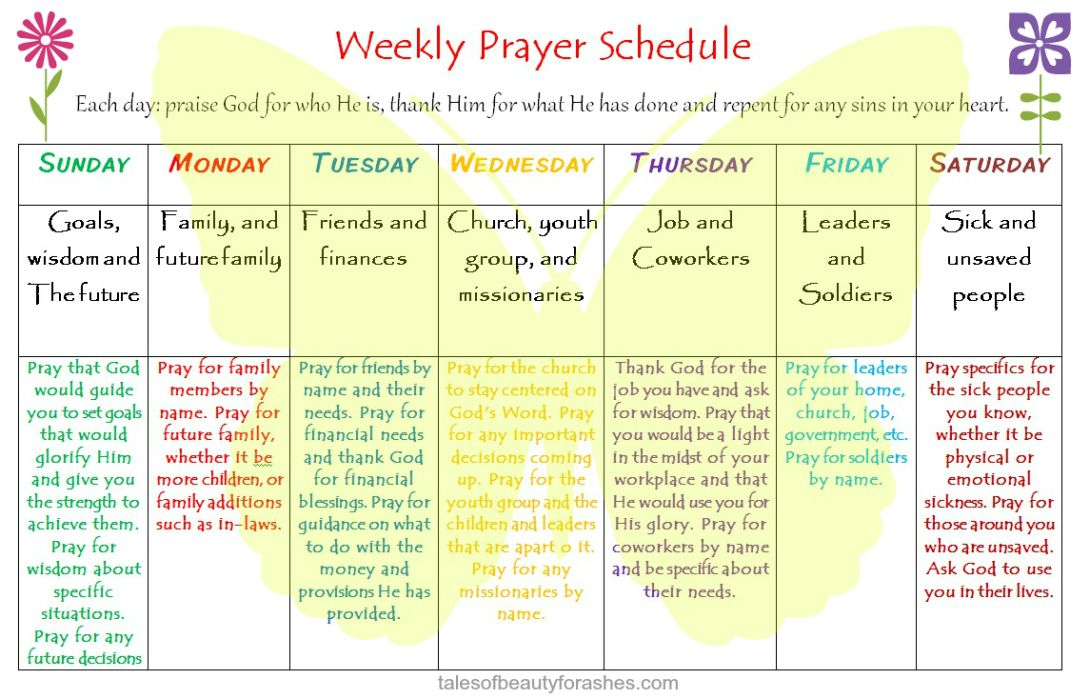 a weekly prayer schedule that helps you remember what to pray for without feeling overwhelmed. Black Bedroom Furniture Sets. Home Design Ideas