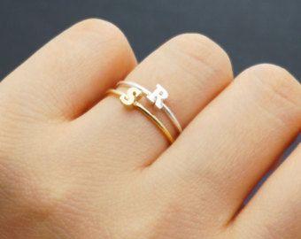 Initial Ring Capital Letter Upper Case Adjustable Ring