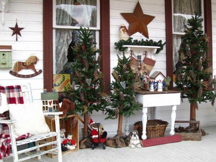 Adornos Navidenos Rusticos Para Exterior 50 Ideas Geniales Decoracion Navidena Navidad Al Aire Libre Decoraciones Rusticas De Navidad