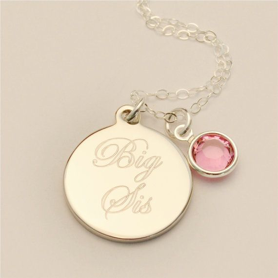 Small Custom Engraved Big Sis Charm Necklace INCLUDING Birthstone, Big Sister Gift, Baby Shower Gift, Personalized Jewelry