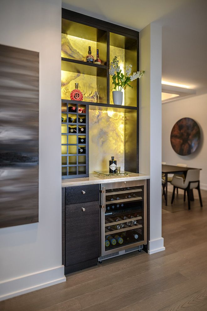 Diy bar area wine cellar contemporary with white walls for Modern homes 8 bottle wine cooler