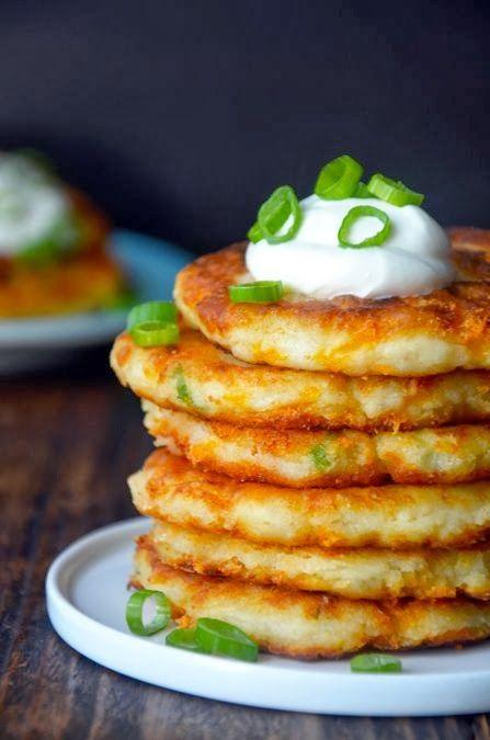 Cheesy leftover mashed potato pancakes - Miss-Recipe.com