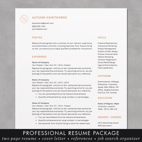 Minimal Modern Resume CV Template Word Mac Or PC Professional - Best of download bullet points design