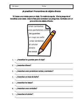 Spanish direct object pronoun worksheet spanish worksheets and worksheet for practicing direct object pronouns in spanish ccuart