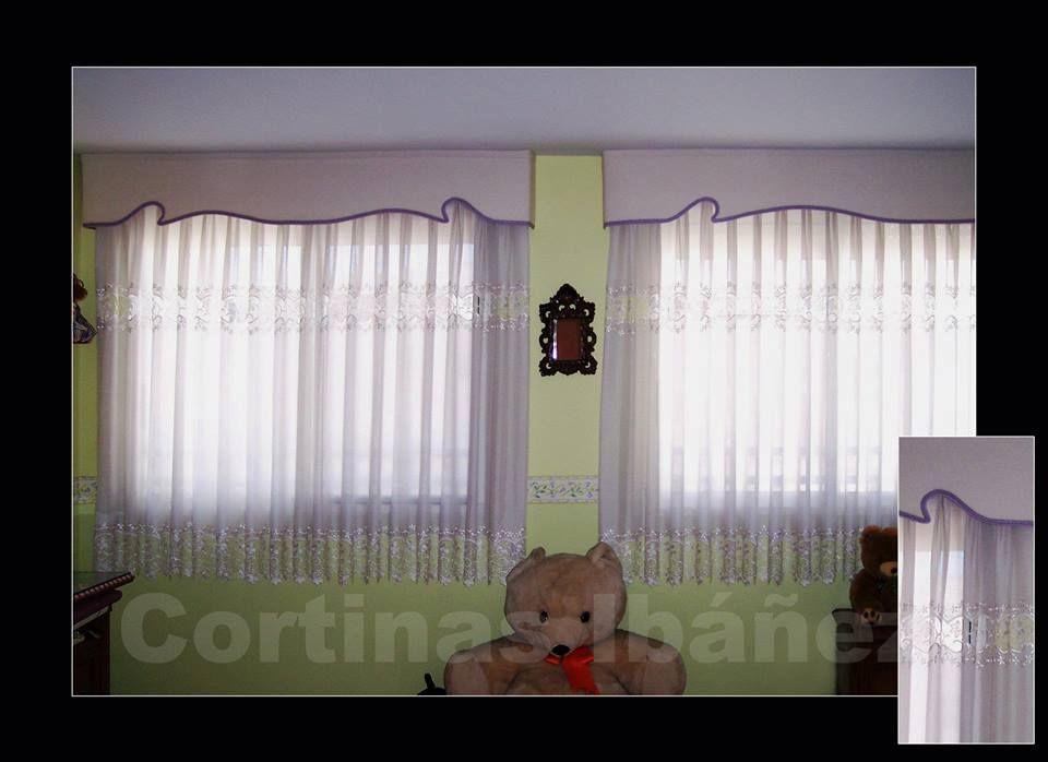 2 cortinas en visillo con guipur goteras acolchadas y con - Formas de cortinas ...