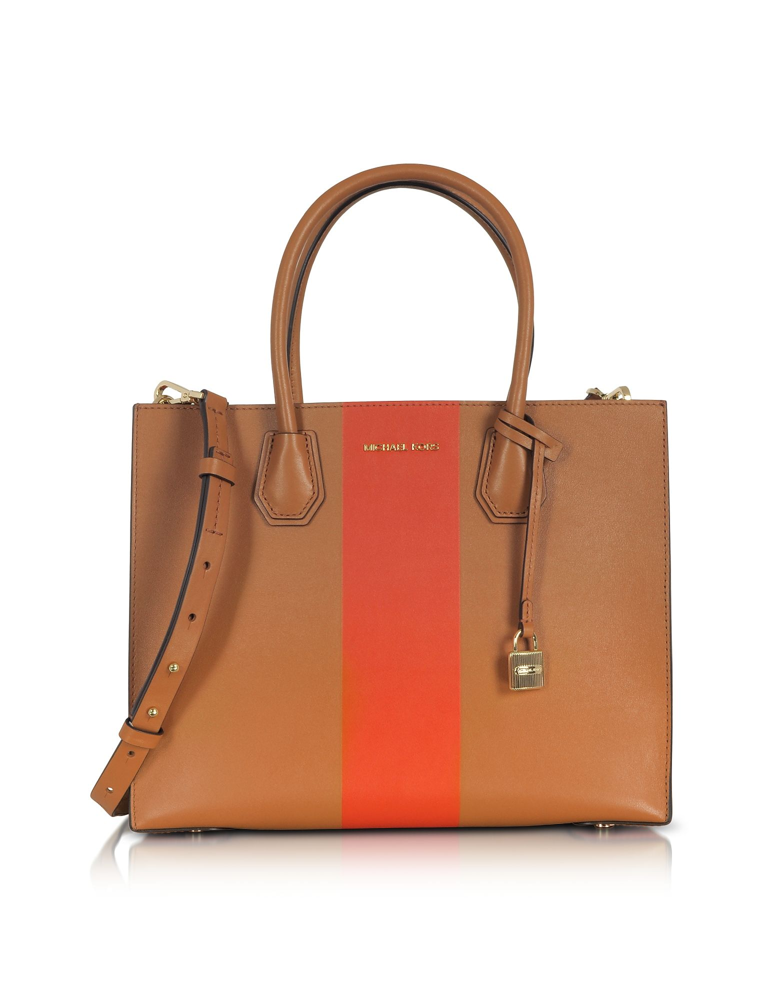 acc8706d82bf MICHAEL KORS MERCER LARGE ACORN   ORANGE CENTER STRIPE LEATHER CONVERTIBLE  TOTE BAG.  michaelkors  bags  shoulder bags  hand bags  leather  tote