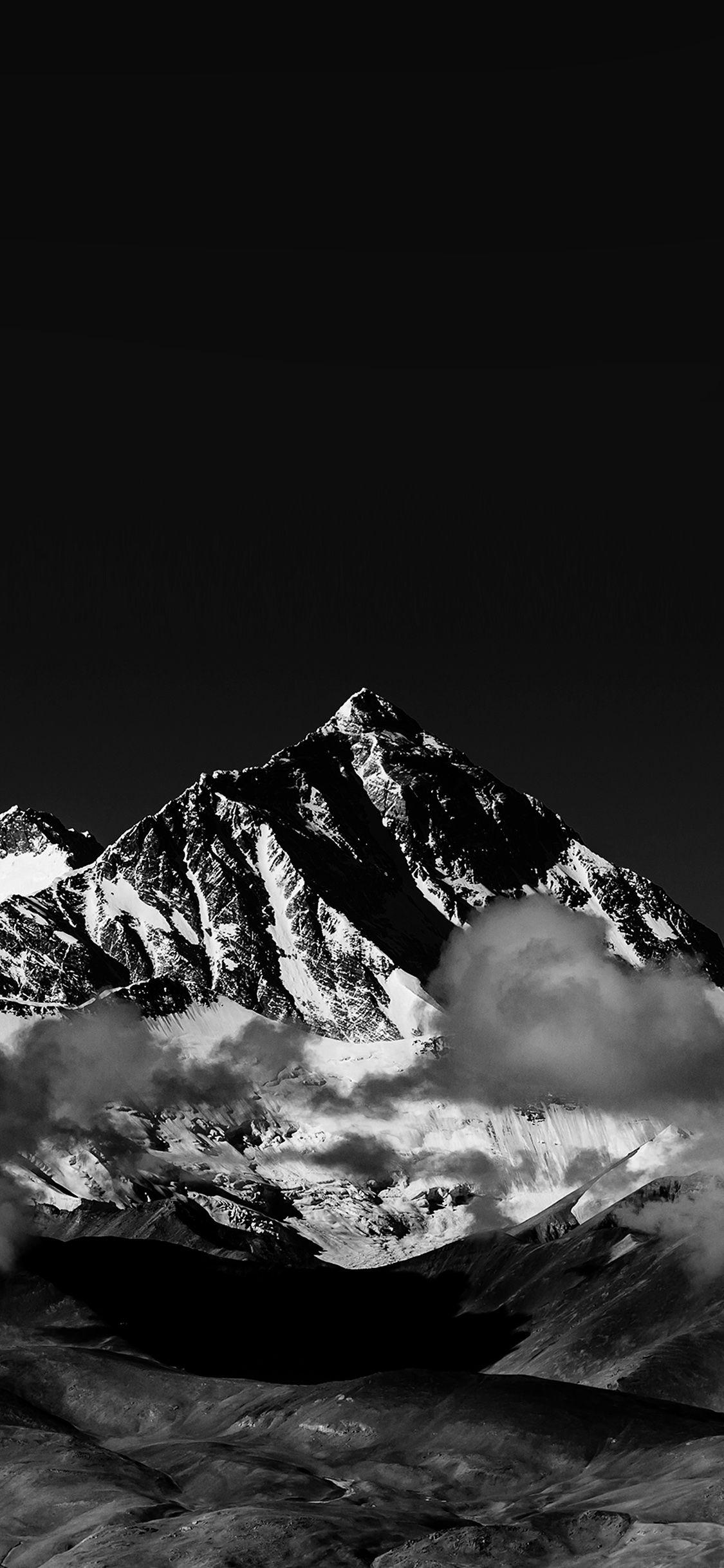Iphonex Wallpaper Mr57 Snow Solo Mountain High Nature Dark Bw