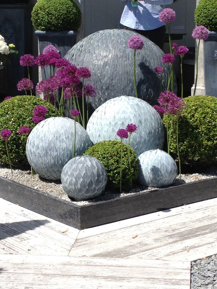 Concrete Garden Orbs Spheres, We Loved These!