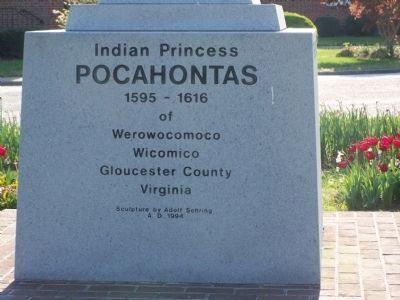 Photo of Indian Princess Pocahontas Historical Marker