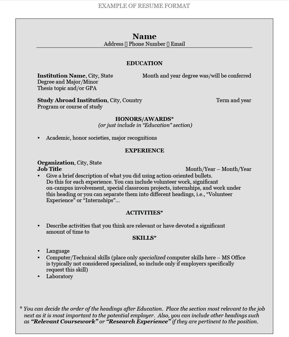 Resume Pattern For Interview Best Formats Free Samples Sample