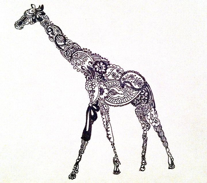 Paisley Giraffe - would make a pretty tattoo but would have to be big to show detail and so it wouldn't bleed together when it's old
