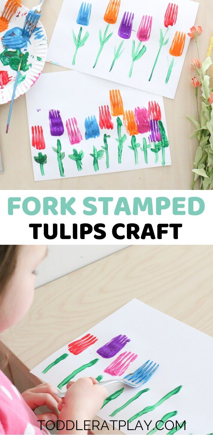 Photo of Fork Stamped Tulips Craft