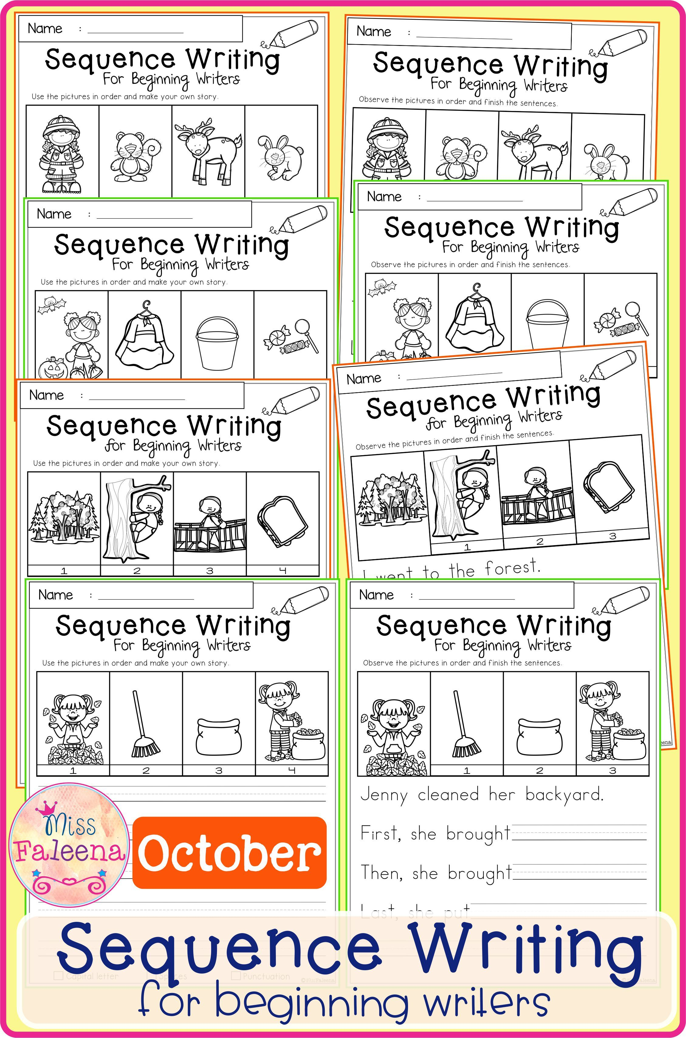 October Sequence Writing For Beginning Writers Sequence Writing Printable Writing Prompts Writing Bundle [ 3414 x 2258 Pixel ]