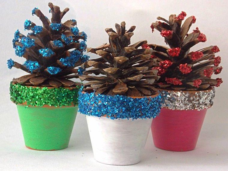 piñas decoradas con maceteros | navidad | pinterest | artesanías