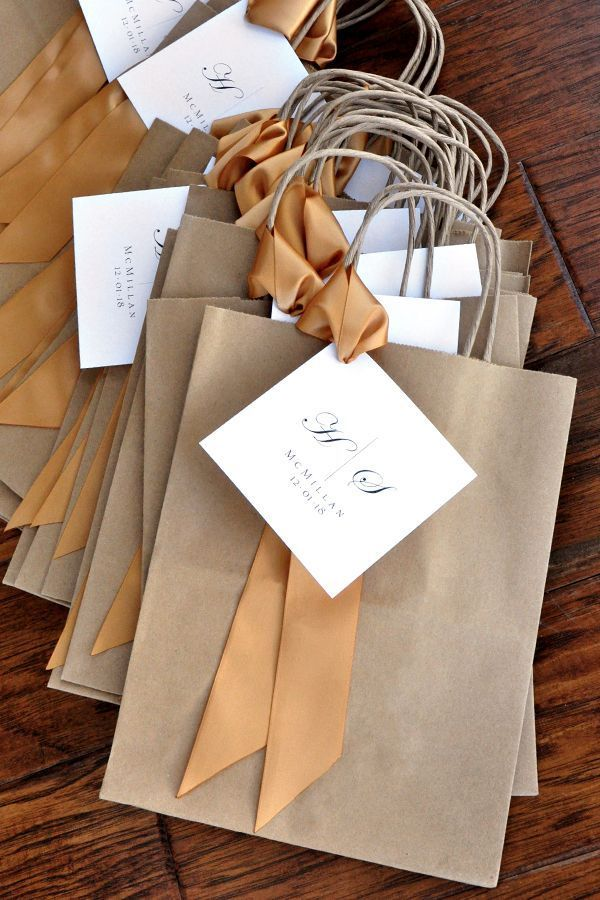 Wedding Guest Gift Bag for Hotel. Guest Favor Bags. Brown Paper Bags with Handle. Wedding Favor Bag