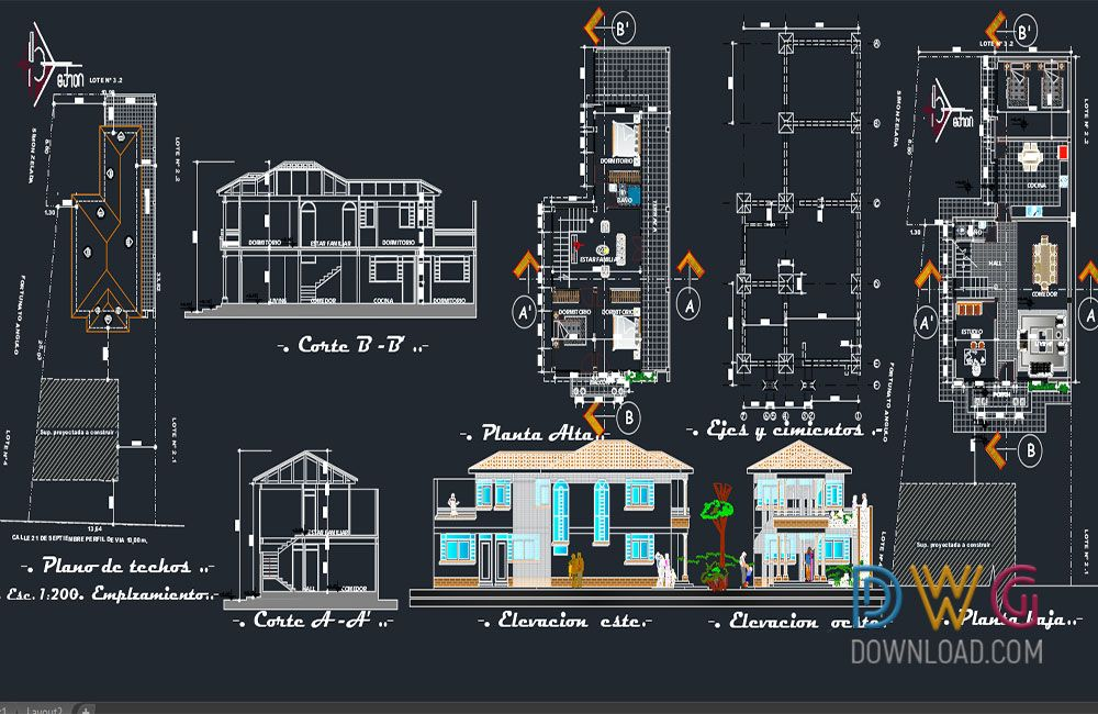 Duplex House 45 X60 Autocad House Plan Drawing Free Download In 2020 Duplex House Simple House Plans House Plans