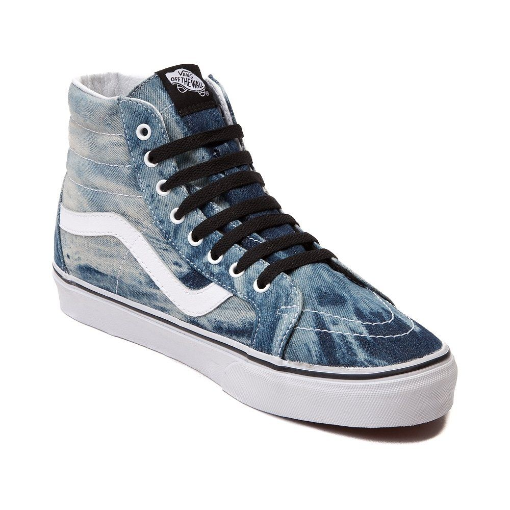 0fcaea4151 Acid washed denim is back and better than ever with the Sk8 Hi Skate Shoe  from Vans! The Sk8 Hi Skate Sneaker features a hi top design with an acid  washed ...