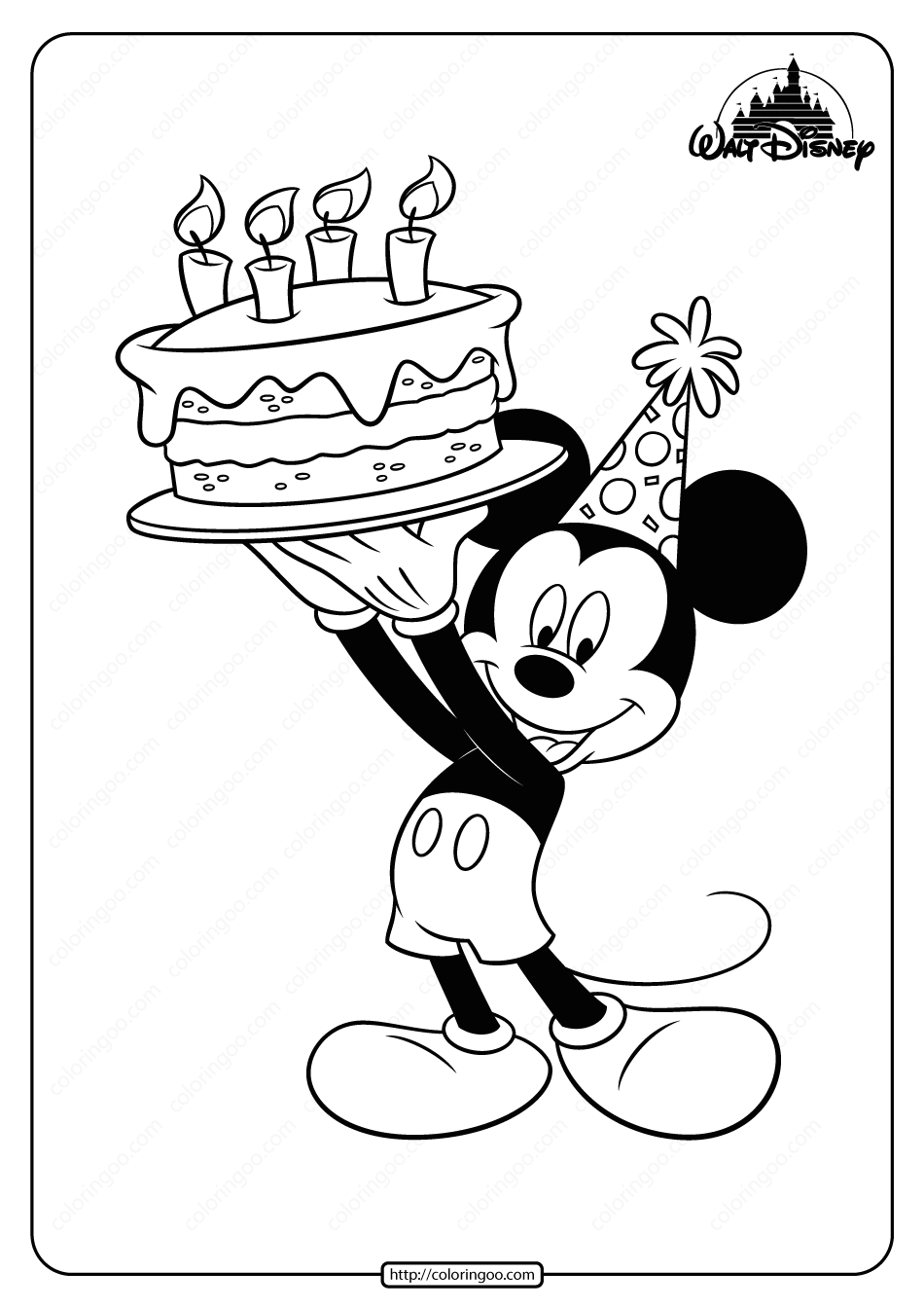 Printable Mickey Mouse Birthday Coloring Page Birthday Coloring Pages Mickey Mouse Drawings Mickey Drawing