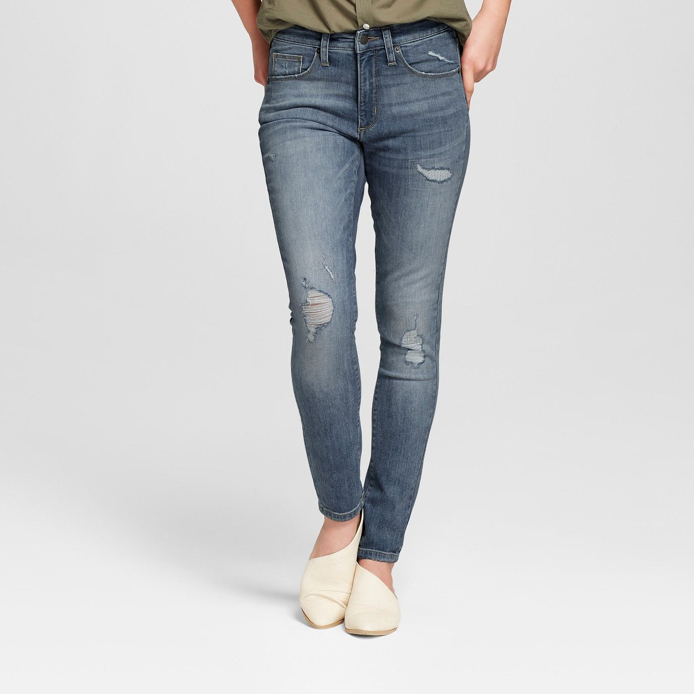 96b84b7b38 Women's High-Rise Destructed Skinny Jeans - Universal Thread™ Medium Wash  from Target. These jeans are ones Riley Blue would definitely wear in  Sense8.