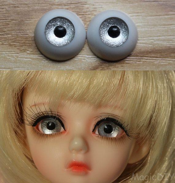 26mm Hand Made BJD Doll Eyes Grey Silver Acrylic Half Ball