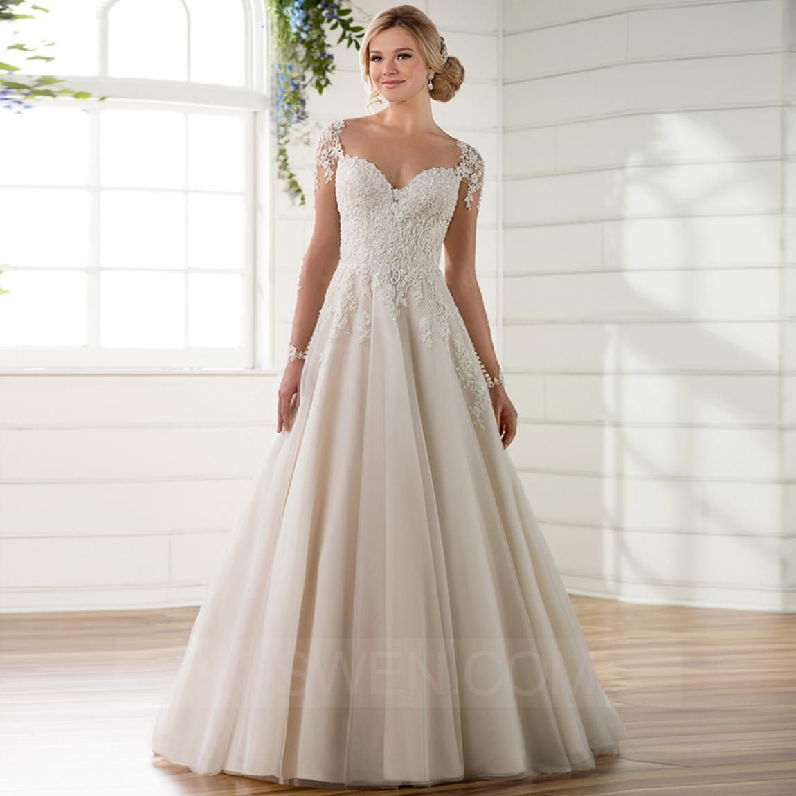 A-line Sweetheart Sweep Train Tulle Wedding Dress With
