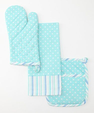 Love.  Design Imports Blue Dots & Stripes Kitchen Set by A Colorful Kitchen: Purple, Green & Blue on #zulily #fall today!