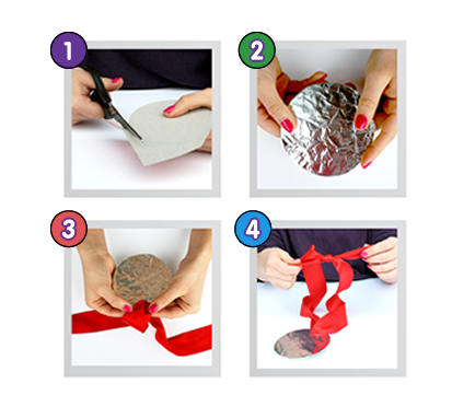 Make a medal (with tinfoil and ribbon) | Arts & crafts