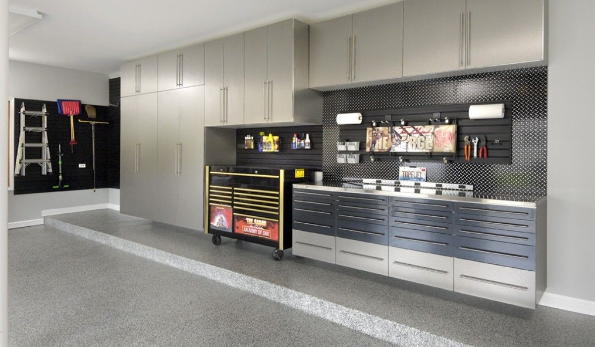 EncoreGarage Of Ohio, Embossed Stainless Garage Cabinets With Encore Flex  Flooring In Graphite.
