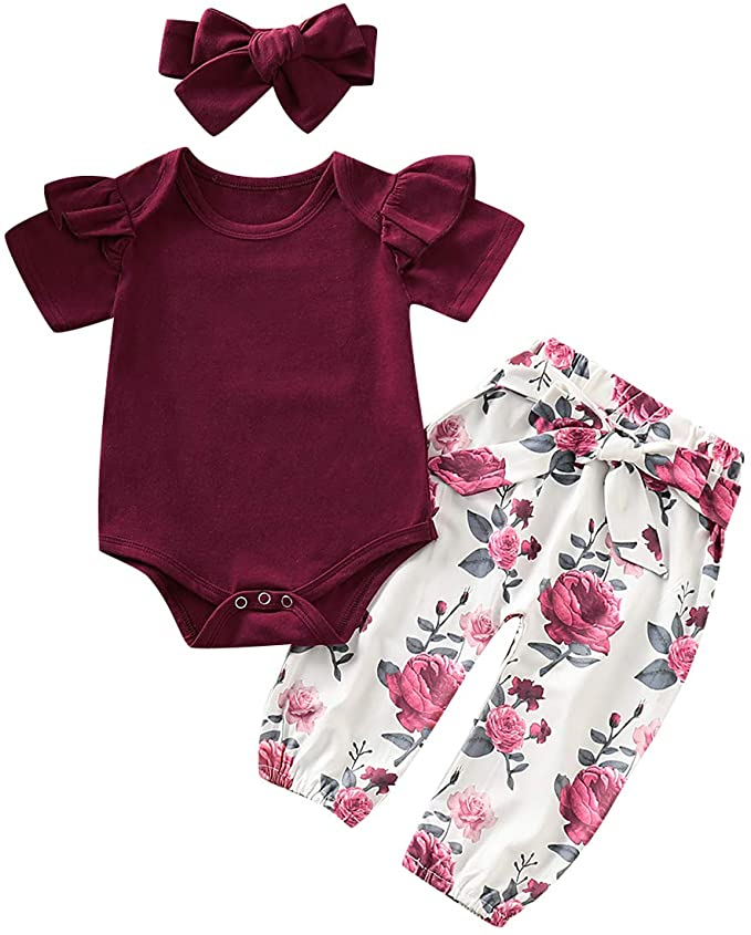 6-12 Months, White Baby Girls Floral Outfits Short Sleeve Flower Romper Shorts Headband 3Pcs Clothes Set