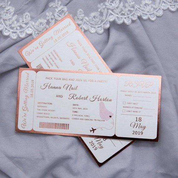 Plane Ticket Wedding Invitations: Destination Wedding Invitation