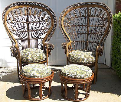 Pair Vintage Dark Rattan Wicker Bamboo Peacock Chairs Ottomans