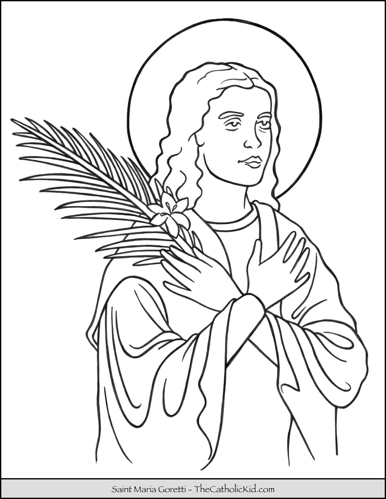 Saint Maria Goretti Coloring Page Thecatholickid Com St Maria
