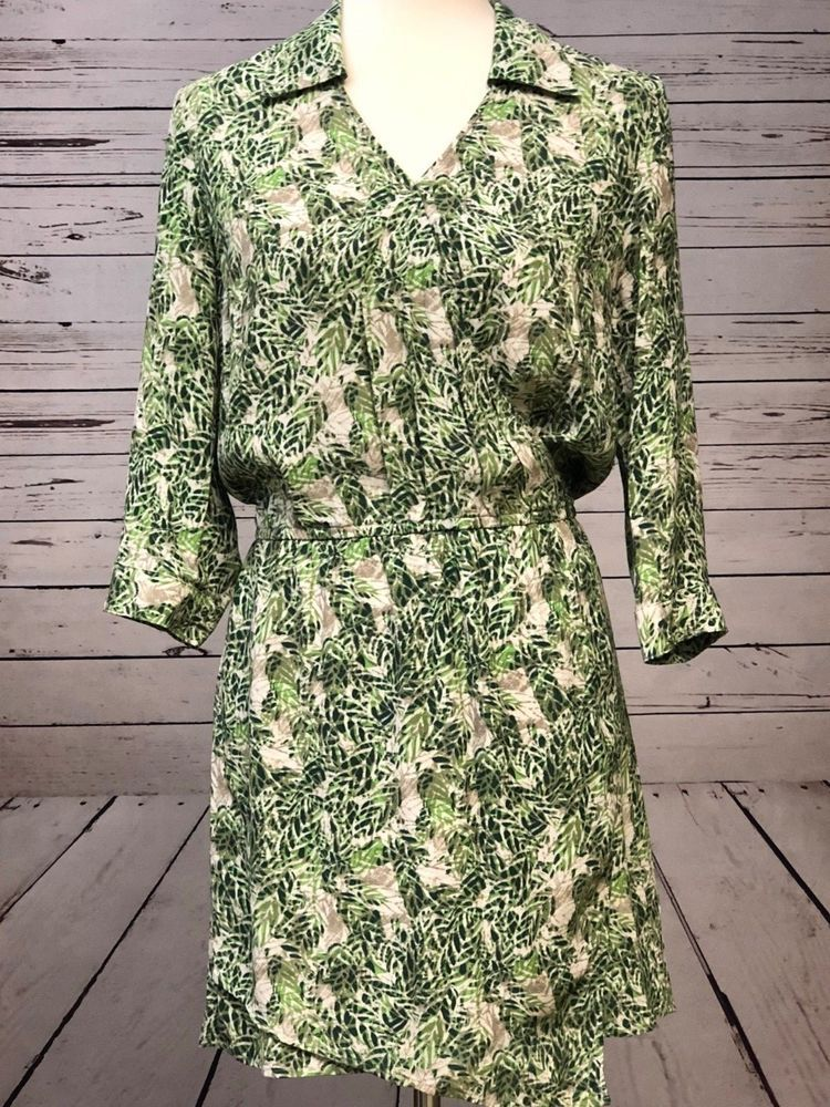 c933de36fe9c Cabi Leaf Print Women's Wrap Short Dress SMALL S Asymmetrical Slip On Style  280 #CAbi #WrapDress #Casual