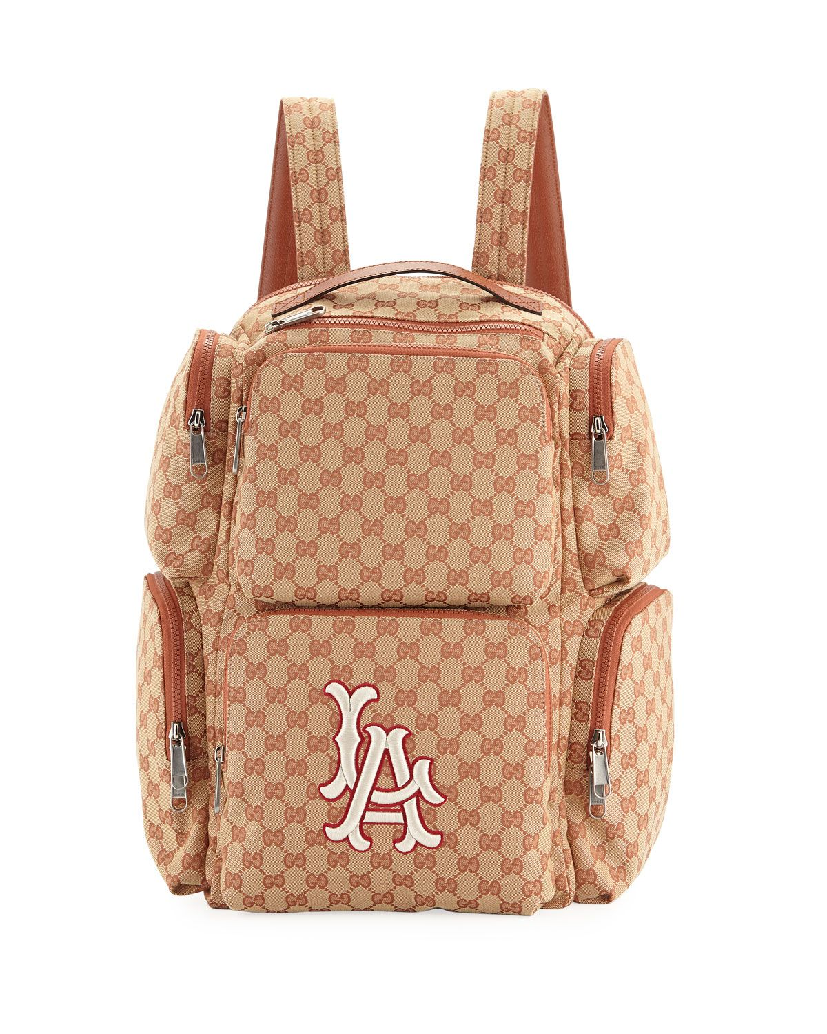 11718f38c9e3 GUCCI MEN S LARGE ORIGINAL GG BACKPACK WITH LA ANGELS MLB APPLIQUE.  gucci   bags  lining  canvas  nylon  backpacks