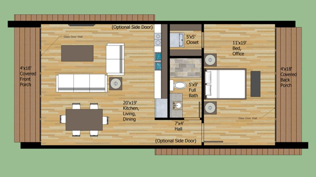 Contemporary Style House Plan 1 Beds 1 Baths 756 Sq Ft Plan 25 4524 Small House Floor Plans Modern Style House Plans House Floor Plans