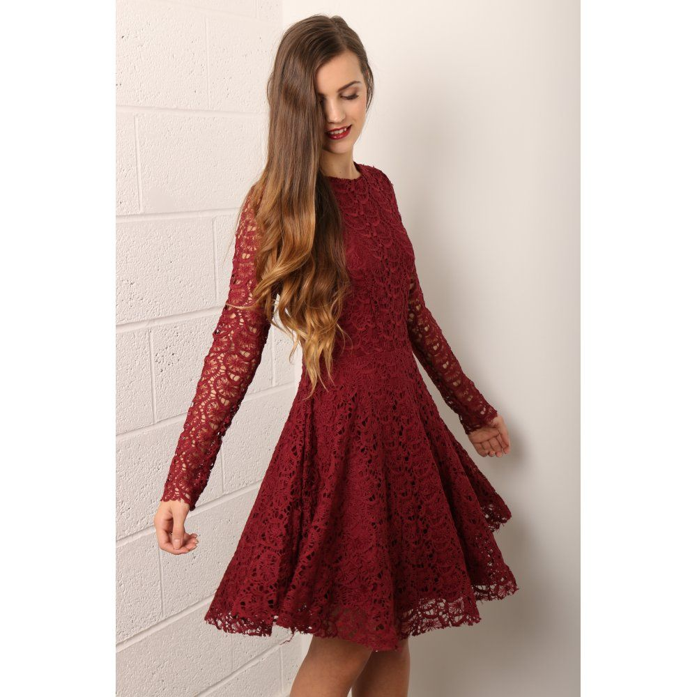 Missguided Premium Lace Long Sleeve Skater Dress Red in Red | Lyst ...