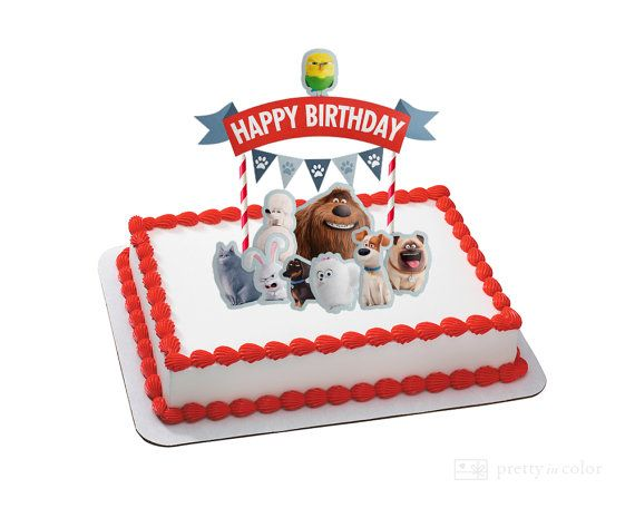 A Fresh Fun And Festive Way To Decorate Your Cakes And Celebrate Great For Birthdays Birthday Pho Animal Cake Topper Secret Life Of Pets Animal Party Theme