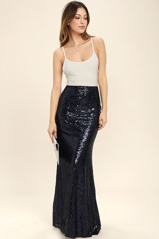 5ac0426e97 Lulus Exclusive! The Effervescent Evening Navy Blue Sequin Maxi Skirt is  sure to show off your bubbly personality! Woven poly is decorated with a  sea of ...