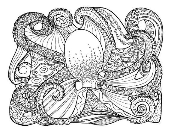 Under The Sea Peaceful And Free Adult Coloring Pages Including Octopus Nautilus Parrotfish Quartet By SweetSuguarSkulls On Etsy