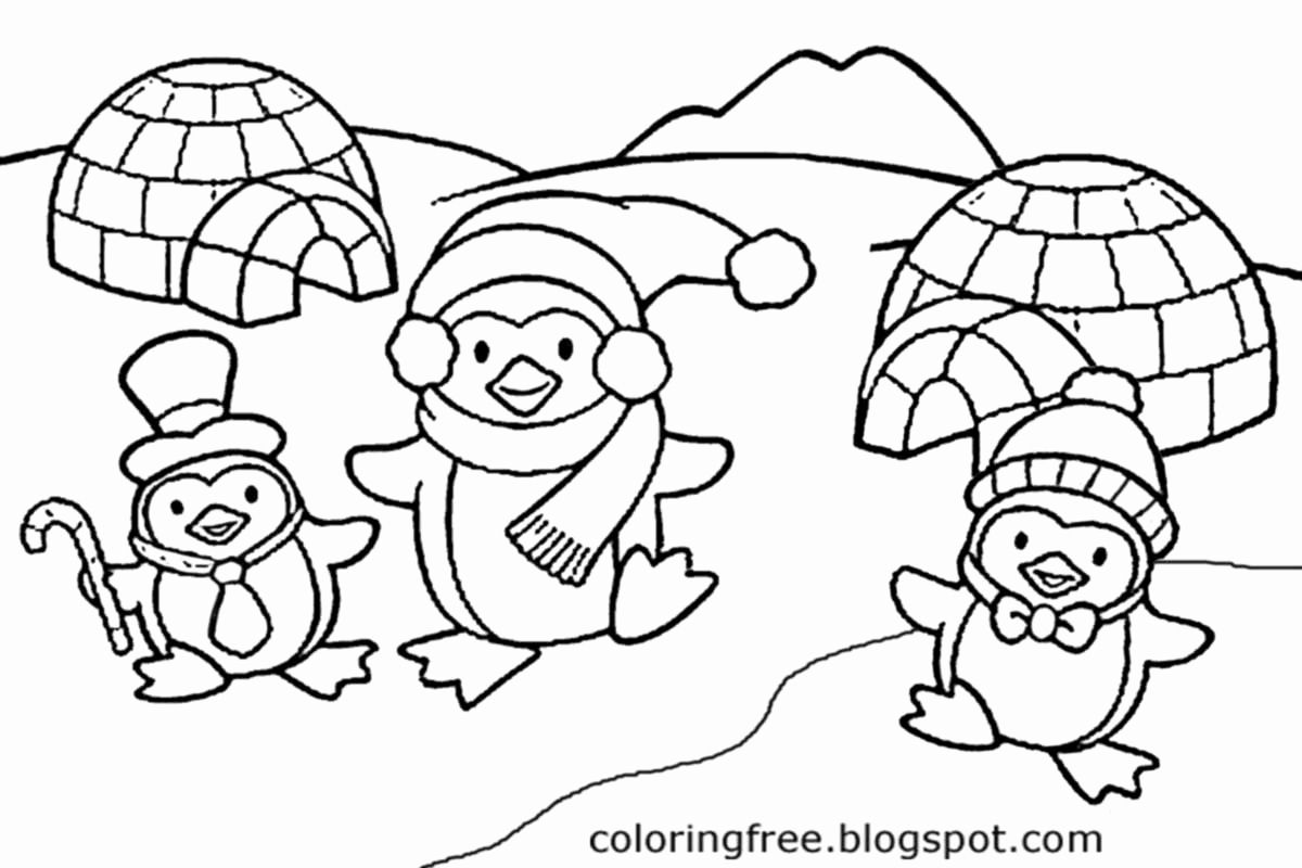 Winter Coloring Pages for toddlers in 2020 | Penguin ...