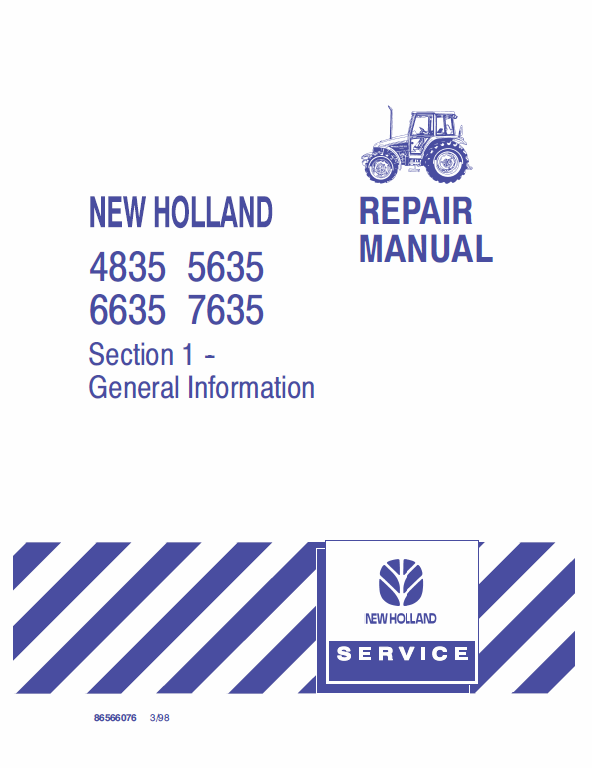New Holland 4835 5635 6635 7635 Tractor Service Manual In 2020 New Holland New Holland Ford Repair Manuals