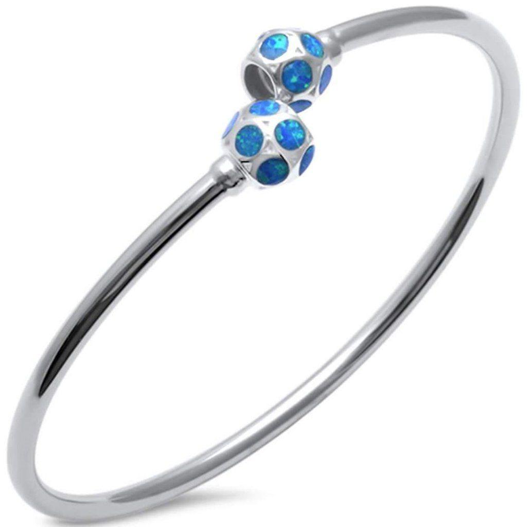 Cuff bangle bracelet created opal 925 sterling silver