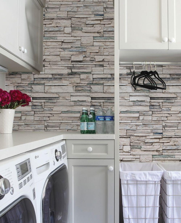 Faux Stone Peel And Stick Wallpaper Stylish Laundry Room Elegant Laundry Room Kitchen Wallpaper